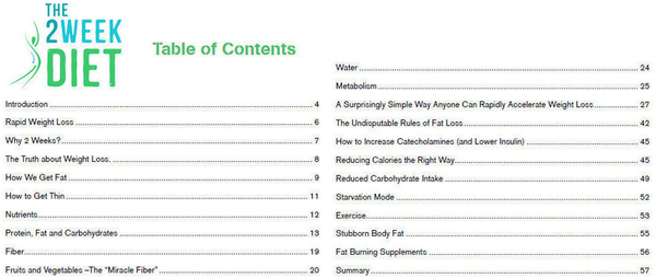The 2 Week Diet Table Of Contents